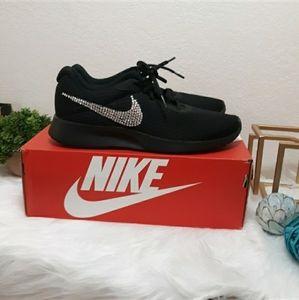 New Nike black Tanjun Bling Custom Crystal